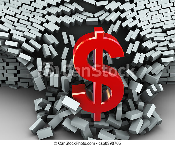 Stock Illustrations of 3d dollar symbol wall break - 3d ...