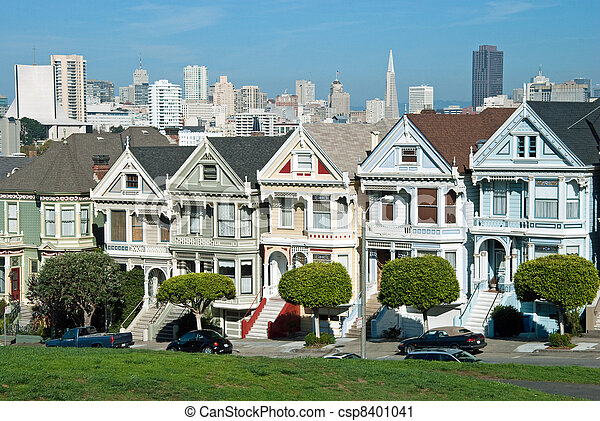Alamo Square in San Francisco with Victorian houses - csp8401041