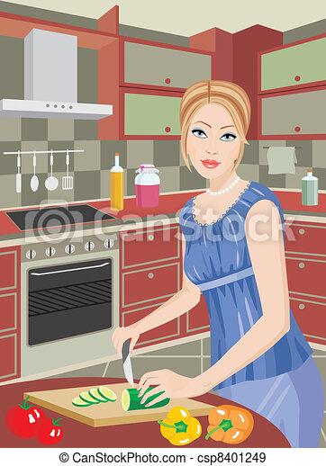 vecteurs eps de veg femme jeune cuisine coupures vecteur csp8401249 recherchez des. Black Bedroom Furniture Sets. Home Design Ideas