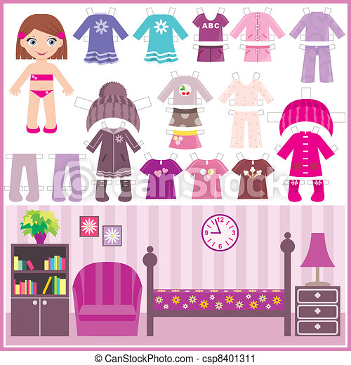 Paper doll with a set of clothes an - csp8401311