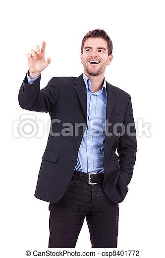business man pushing imaginary buttons  - csp8401772