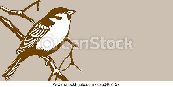 bird silhouette on brown background - csp8402457