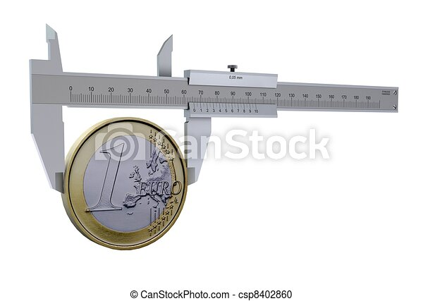 Caliper measures the euro coins. The symbol measures of money - csp8402860