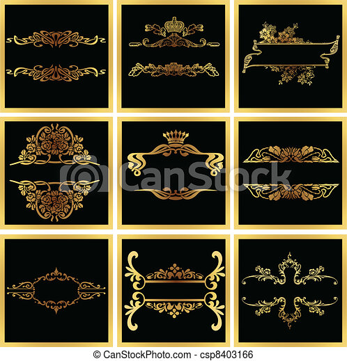 Decorative Ornate Golden Vector Quad Frames - csp8403166