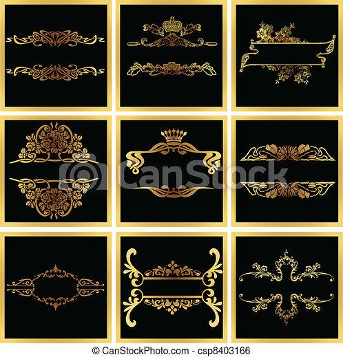 Decorative Ornate Golden Vector Quad Frames - csp8403166