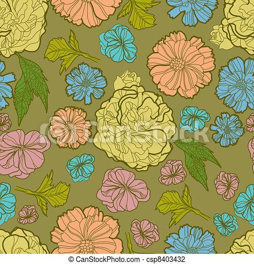 Floral botany pattern - csp8403432