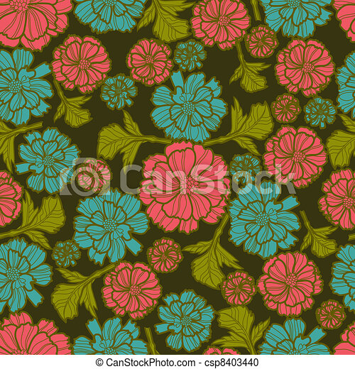 Floral botany pattern - csp8403440