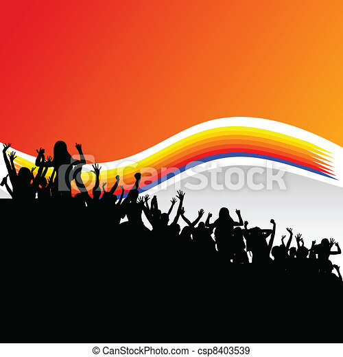 party people group in black silhouette - csp8403539
