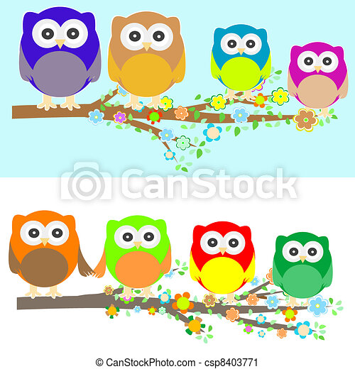 Family of owls sat on a tree branch at night and day - csp8403771
