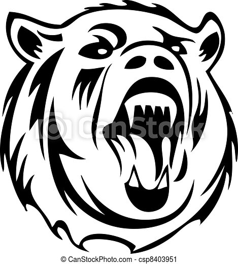 Clipart vettoriali di silhouette, orso - arrabbiato, orso ... Raccoon Face Clip Art