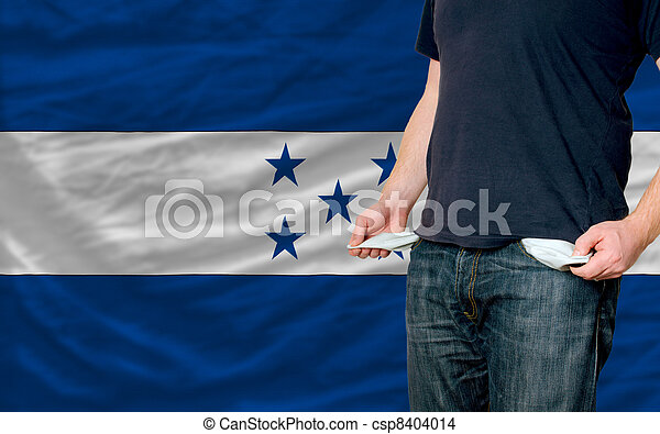poor man showing empty pockets in front of honduras flag