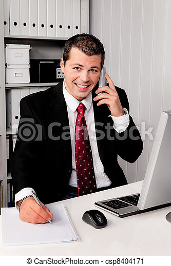 businessman in office with telephone - csp8404171