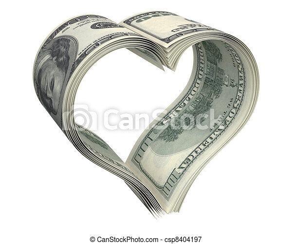 Heart made of few dollar papers - csp8404197