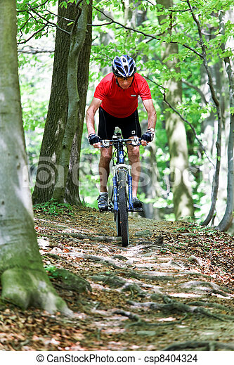 senior with mountain bike bicycle - csp8404324