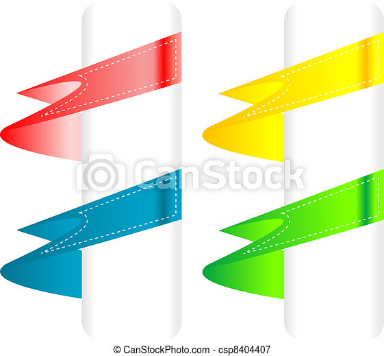 Color variation of paper origami labels. Vector - csp8404407
