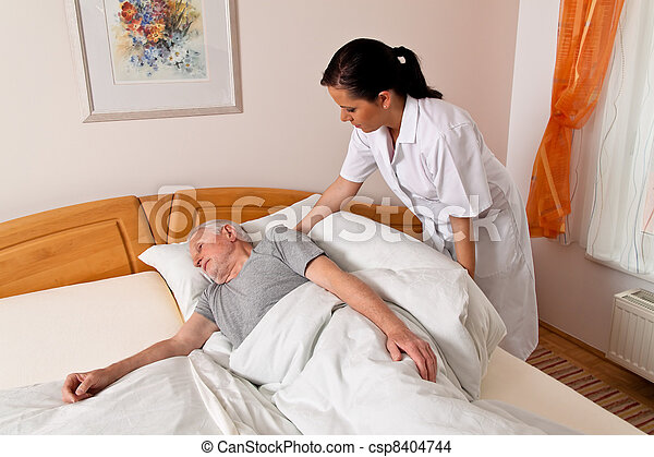nurse in elderly care for the elderly - csp8404744