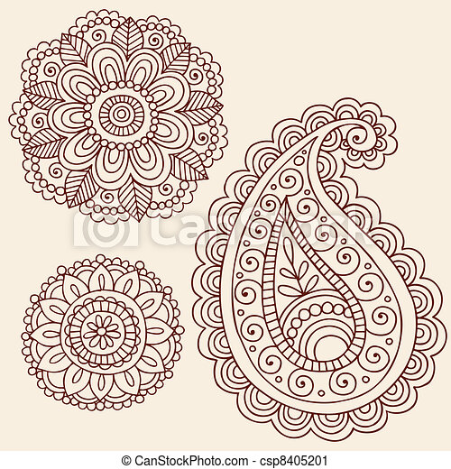 Henna Doodle Vector Design Elements - csp8405201