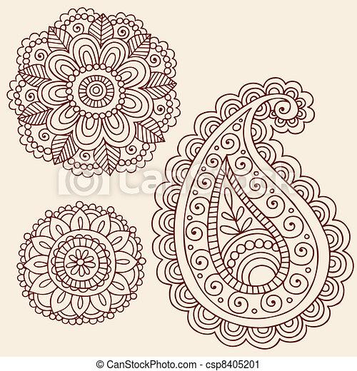 Henna Doodle Vector Design Elements - csp8405201