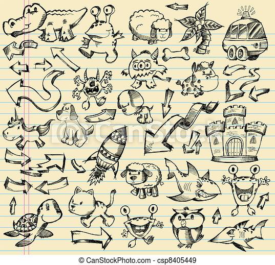Notebook Doodle Sketch Design set - csp8405449