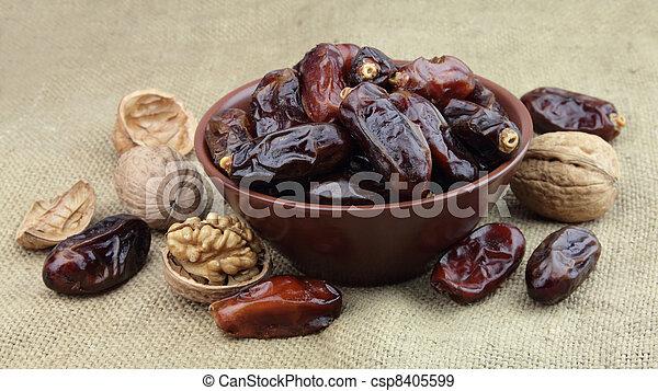 Dates and walnut  - csp8405599