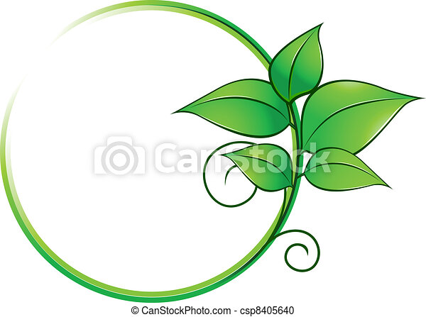 Green frame with fresh leaves - csp8405640