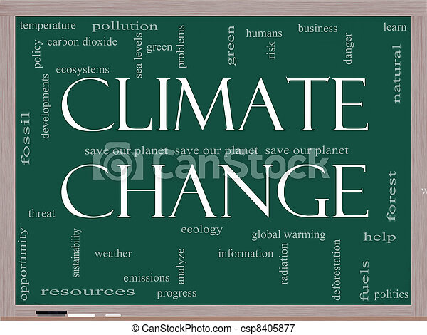 Climate Change Word Cloud concept on Blackboard - csp8405877