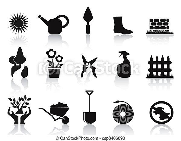 black garden icons set - csp8406090
