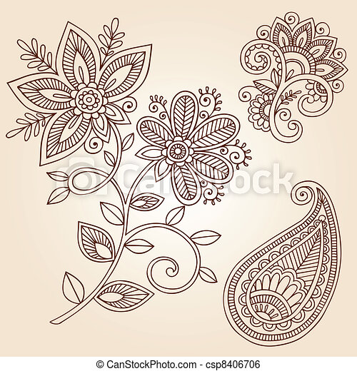 Henna Flower Paisley Doodle Vector - csp8406706