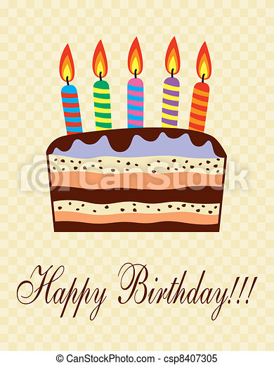 vector birthday cake with candles - csp8407305