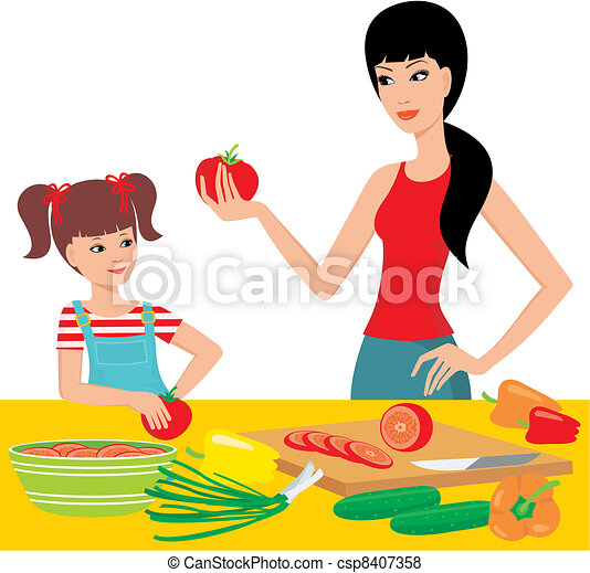 Mum learns the daughter to prepare. - csp8407358