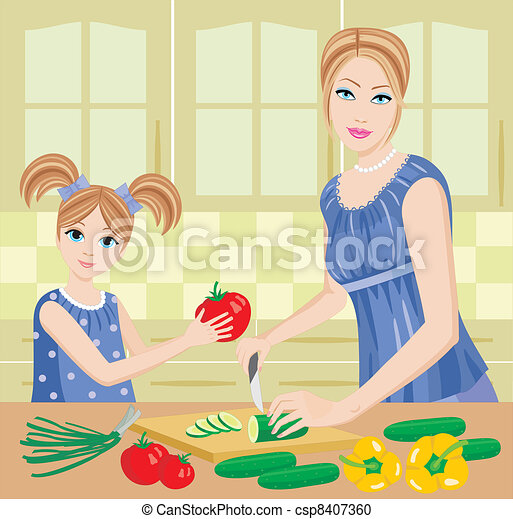 Daughter helps mum to prepare. - csp8407360