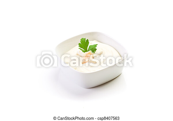 Cheese sauce on white background - csp8407563