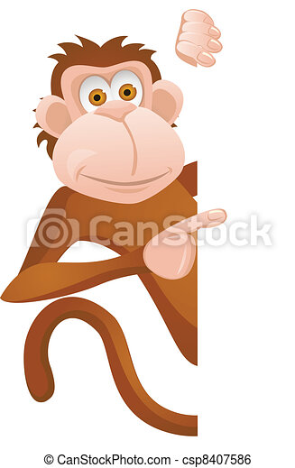 Funny monkey with blank sign - csp8407586