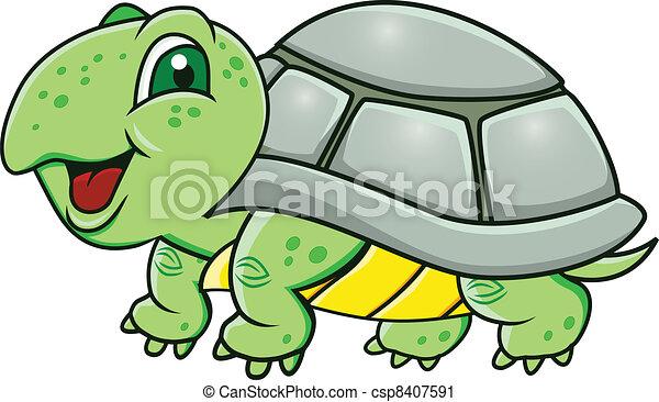 Clip art vecteur de tortue dessin anim rigolote vert - Tortue rigolote ...