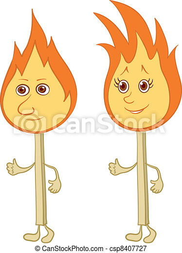 Burning matches with smiles - csp8407727