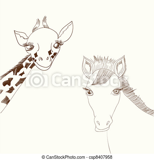 Giraffe and horse - csp8407958