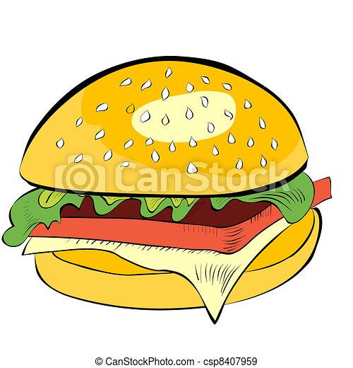 Hamburger isolated on white background - csp8407959