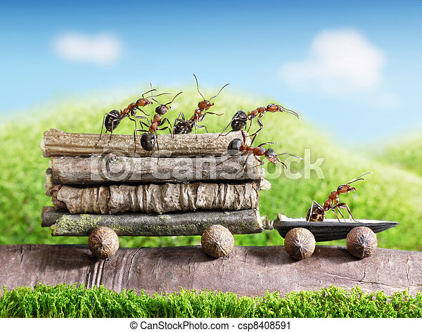 team of ants carry wooden logs with trail car, teamwork, ecofriendly transportation - csp8408591