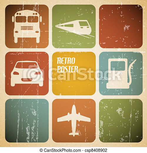 Vector vintage transport (traffic) poster - csp8408902