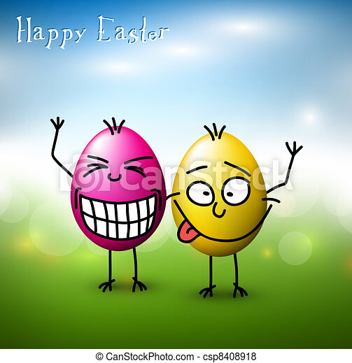 Vector Funny easter eggs - Happy Easter Card - csp8408918
