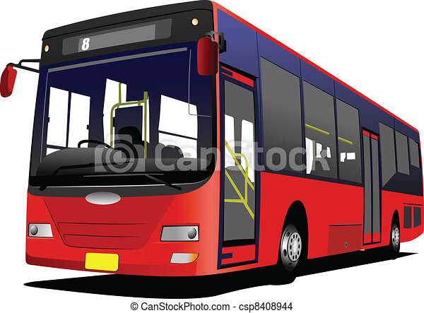 City bus on the road. Vector illus - csp8408944