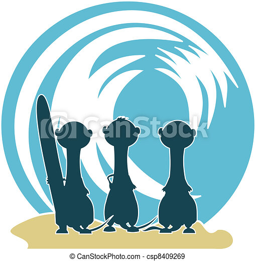3 Meercat Surfers & Wave - csp8409269