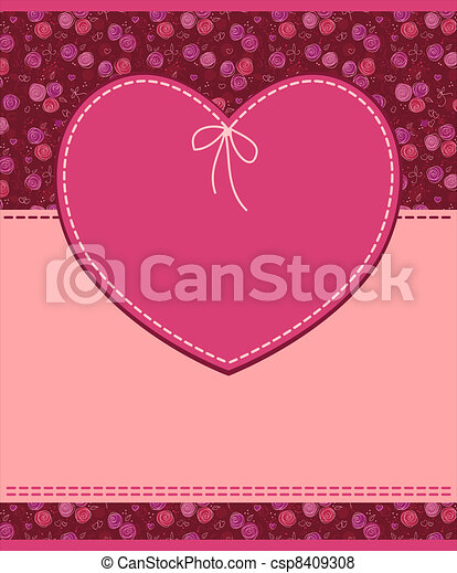 vector pink heart textile label - csp8409308