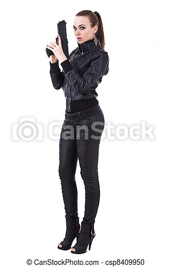 Woman holding weapons - csp8409950