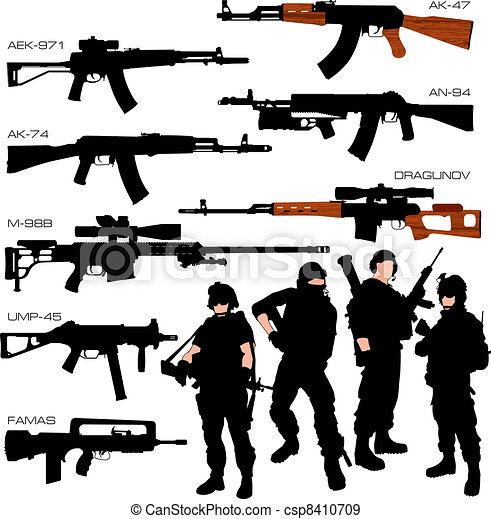 Automatic Weapons Silhouettes Set  - csp8410709