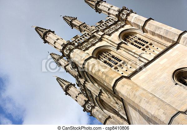church spire in oxford in medieval gothic renaissance style - csp8410806
