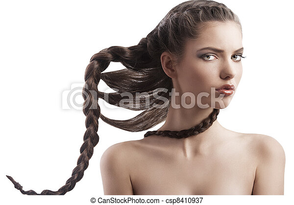 beauty girl with creative braid  - csp8410937