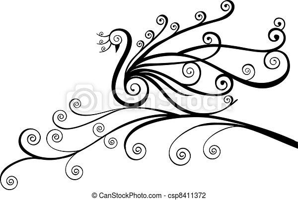 Bird, peacock in swirls - csp8411372