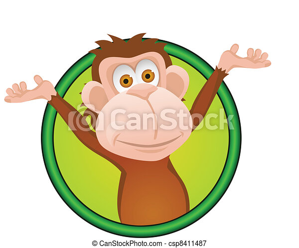 Funny monkey cartoon - csp8411487