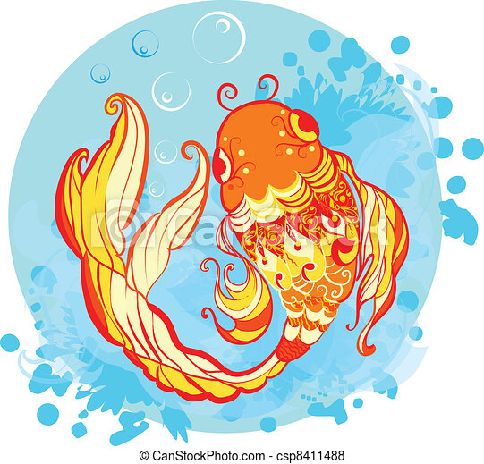 Goldfish illustration - csp8411488